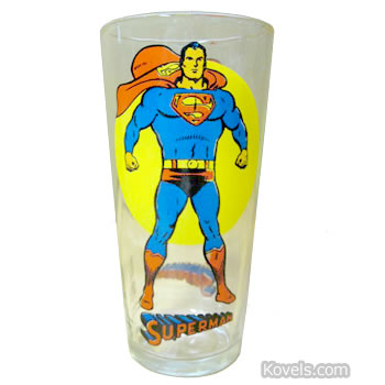 Superman decorated glass, 1960s