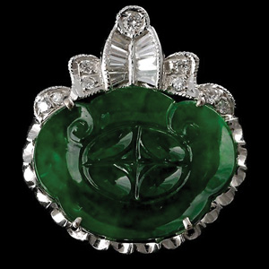Jade, diamond and 18K white gold pendant
