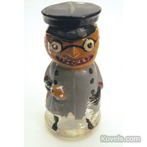 Pumpkin-Head Policeman glass candy container