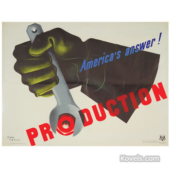 """America's Answer! Production"" World War II poster"