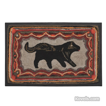 Hooked rug picturing a dog