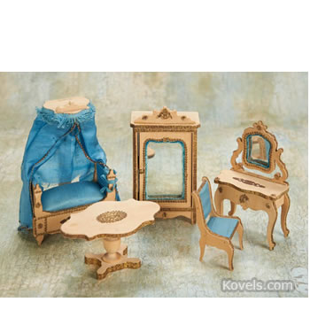 German dollhouse bedroom furniture set