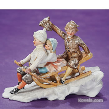 Snow Children in Sledding Scene