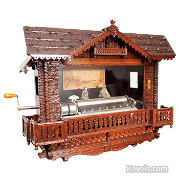 Swiss chalet station automaton music box