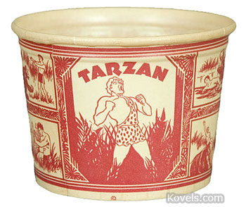 This Tarzan ice cream cup was made by Lily-Tulip Cup Corp. in the 1930s. Hake's Americana & Collectibles of Timonium, Md., priced it at $518. You can find paper-cup collectibles for much less, but this one is rare and in mint condition.