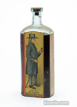 A Quaker is pictured on the label of this Dr. Flint's Quaker Bitters. The 9 1/4-inch-high bottle with all four labels and the contents sold at a Heckler auction in Woodstock Valley, Conn., for $3,450.