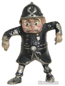 """Policeman"" is one of the dozens of Brownie characters created by Palmer Cox in the late 1890s. This 3-inch cast-metal figure sold for $115 at a Hake's auction in January. Collectors want anything picturing the fairy-like sprites."