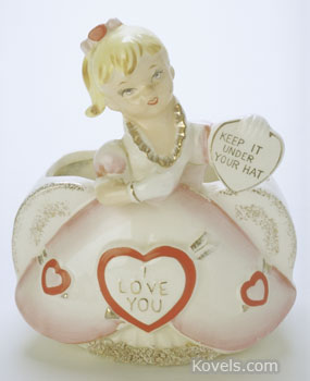 This 5 3/4-inch-high valentine lady with the message