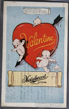 The design on a valentine can help date it. This postcard pictures the Rose O'Neill Kewpies popular in the early 20th century. It is worth about $100. (Picture credit: Jackson's Auctioneers & Appraisers, Cedar Falls, Iowa)