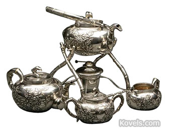 This Chinese Export silver tea service was made in Hong Kong by Wang Hing. The kettle with stand, teapot, cream jug and covered sugar bowl sold at John Moran auctions in Altadena, Calif., for $2,500.