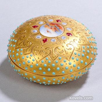 coalport, box, medallion, gilt, turquoise
