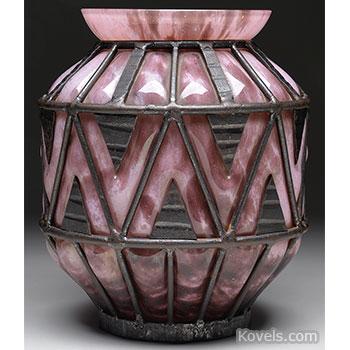daum, vase, caged, iron, majorelle
