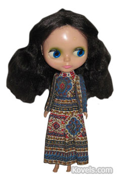 This original 1972 Blythe doll, 11 1/2 inches tall, sold in an online auction for $920. She has a tagged dress and eyes that change to four different colors, but her face is slightly damaged and her hairdo is incorrect.