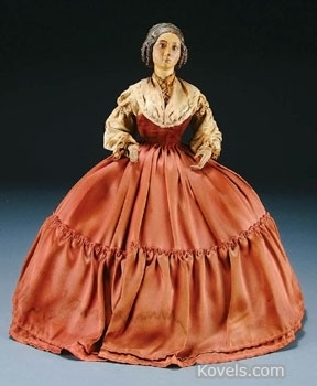 This 16-inch doll is really a 19th-century German tea cozy. The doll is made of carved and painted wood. Her skirt sits on a wooden frame that fits over a teapot. It brought $258 at a Jackson's Auction in Cedar Falls, Iowa.