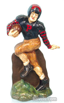 This football-player doorstop is rare and in near-mint condition, so it brought $16,500 at a recent Bertoia auction in Vineland, N.J.