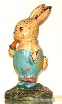 This rabbit with a pair of blue trousers and shoes is really an iron doorstop made by Hubley Manufacturing Co. of Lancaster, Pa., probably in the 1930s. The original price was about $1.50. Today it is worth over $600. (Photo credit: DeFina Auctions, Austinburg, Ohio)
