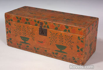 This pine chest is decorated with stenciled paint designs. It is 29 3/4 inches long. The hope chest, made in the early 19th century, sold for $3,055 at a Skinner auction in Boston this year.