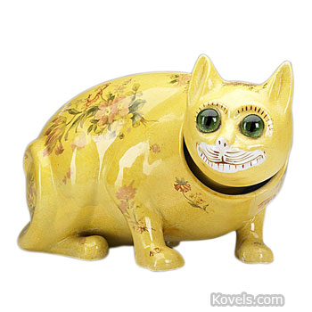 Any Galle pottery cat is amusing and unusual. This yellow cat has large round glass eyes and small transfer decorations on its body. Even with a hairline crack, the 5 1/2-by-10-inch figure sold for $800 at a November Rago auction in Lambertville, N.J.