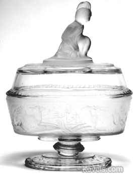 This Westward Ho low oval compote is hard to find. It is 6 1/2 inches wide and sells for $175.