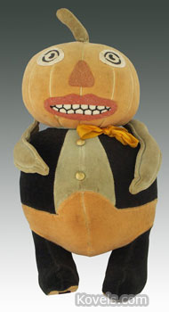 It took $8,400 to buy this rare Halloween Pumpkin Man at a September Morphy auction in Denver, Pa. It has its original eyes and mouth. The clothing is part of the body.