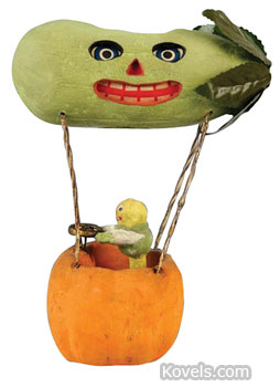 Wow?Halloween collectibles can be valuable. This Veggie Man driving a pickle balloon that doubles as a jack-o-lantern sold for $4,387. Morphy Auctions in Denver, Pa., sold it at an auction featuring rare Halloween items.