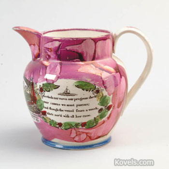 """The Great Australia Clipper Ship,"" ""Success to the Fisherman"" and other slogans, along with a four-line verse, decorate this pink bubble luster jug. The 9-inch-high jug made in the early 19th century auctioned at James D. Julia's in Fairfield, Me., for $460."