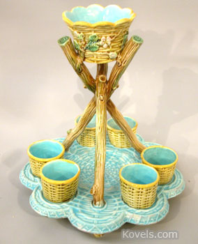 Easter eggs will taste better if served in a rare eggstand like this English majolica stand by George Jones. It brought $ 1,792 at a Michael G. Strawser auction in Wolcottville, Ind.