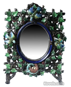 Ivy-covered tree branches with birds and a nest surround this 22-by-16-inch mirror. The majolica frame was made by Hugo Lonitz, who worked in Germany between 1886 and 1904. It brought $3,824 at a Sloans & Kenyon auction in Chevy Chase, Md.