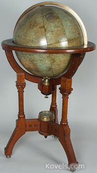 Dunbar, the furniture company, made this globe and stand designed by Edward Wormley about 1957. The mahogany and brass stand can be dated from the leg shape. There is a light inside the globe, making it a find at $1,410 when it sold at a Treadway-Toomey Galleries auction in Oak Park, Ill.