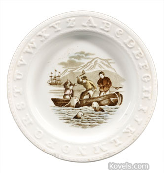 This 1860s child's plate has letters around the edge to teach the alphabet and a picture in the center to display a method of hunting seals. The plate sold at a Skinner auction in Boston for $148, below auction estimate, perhaps because the picture of a seal hunt is controversial today (photo courtesy of Skinner Inc., www.skinnerinc.com).