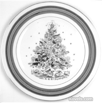 """Christmas Eve"" is the name of this pattern of dishes made by the Salem China Co. A dinner plate like this sells for about $15."