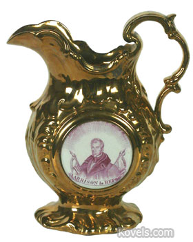"This fancy 9 1/2 inch copper luster pitcher has a picture of presidential candidate William Henry Harrison on the side. The pitcher says ""Reform."" A better known slogan from the winning campaign is ""Tippecanoe and Tyler too."" (picture credit Heritage Auction Galleries, Dallas, TX)"