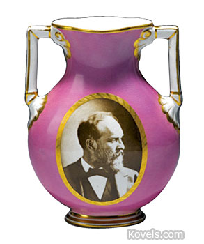 Does he look familiar? This vase was a memorial for President James A. Garfield after his assassination in 1881. The 9-inch-tall vase with a bright pink luster glaze and sepia portrait is very rare. The condition plus the rarity led to a price of $3,614 at a MastroNet online auction.