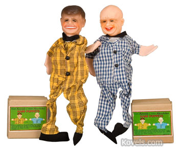 These hand puppets with vinyl heads and cloth bodies represent President Kennedy and Premier Khrushchev. They sold last month at for $312 a Hake's auction in Timonium, Md.