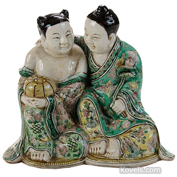 porcelain, chinese, figurine, immortal, twins