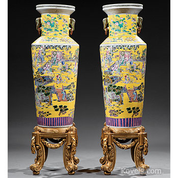 porcelain, chinese, vase, clobbered, famille, rose, pair