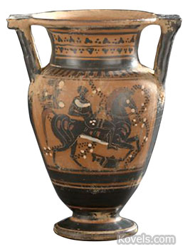 """Grand Tour"" pottery like this 11-inch two-handled vase decorated in the ancient Greek ""Black Figure"" style was made in the late 19th century. It shows a water fountain, a goat and a servant carrying a water bottle. The vase sold at New Orleans Auction Galleries for $1,728."