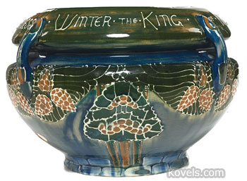 This jardiniere is attributed to Frederick Rhead. It is marked with the Avon Pottery mark. Treadway-Toomey Gallery in Oak Park, Ill., sold the 12-inch-diameter piece for $880 even though it had some minor damage.