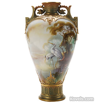 royal, worcester, vase, birds, powell