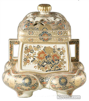 This 12-inch-high Satsuma censer is decorated with flowers. The pierced lid that allows smoke from burning incense to escape is the clue to identifying its use.