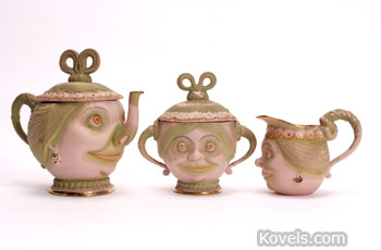 These smiling ladies are part of a tea set made by Schafer and Vater of Germany about 1900. The company remained in business until 1962.