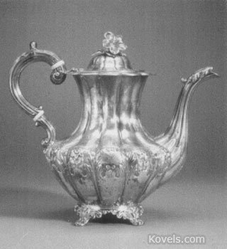 This English Victorian coffeepot was made in London. It is 9 1/4 inches high. The pot sold at Skinner's Auction Gallery in Boston a few years ago for over $700.