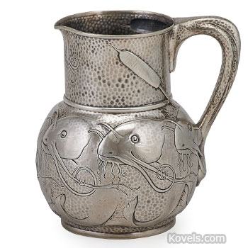 tiffany, silver, pitcher, catfish