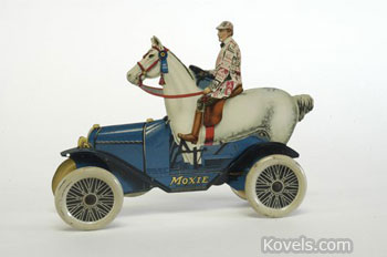 This strange toy, a car driven by a rider on a horse, is the famous Moxie Horsemobile used to advertise the soft drink from 1915 into the 21st century. The tin die-cut toy, 8 1/2 inches long, sold in March at Bertoia Auctions of Vineland, N.J., for $5,750.