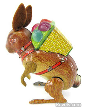 This 3 1/2-inch-tall tin rabbit with felt ears and a basket of eggs on its back hops when wound up. The Easter toy was made in the late 1940s and sold for just $42 at a Dirk Soulis auction in Lone Jack, Mo.