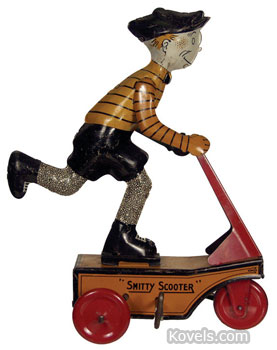 This tin scooter toy, 7 3/4 inches high, can be wound up so the wheels turn and move it across the room. It sold online at a Hake's Americana & Collectibles Auction for $1,324.