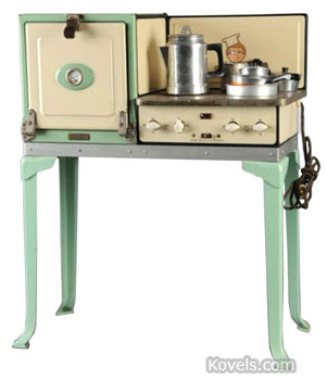 Lionel Corp. made not only toy trains but also toy stoves. This enamel-finished stove, 33 by 25 1/2 by 12 inches, sold for $1,638 at a Morphy Auctions in Denver, Pa.