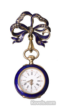 "A bow-shaped pin and working watch that are enameled and set with diamonds sold for $863 at a Cottone auction in Geneseo, N.Y. It is marked ""J. Laforge Besacon."""